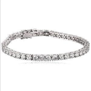 Platinum Round-Cut Bracelet w/ Swarovski Zirconia